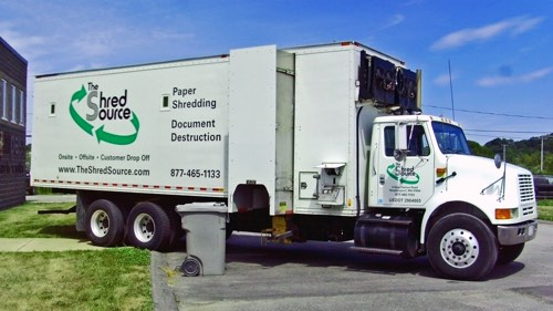 The Shred Source truck for onsite paper shredding and document destruction services